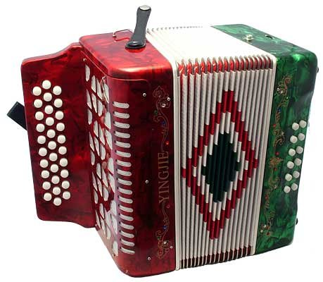 Barcelona30-Key Piano-StyleAccordion with Hardshell Case – Tricolor (Red, White, Green)