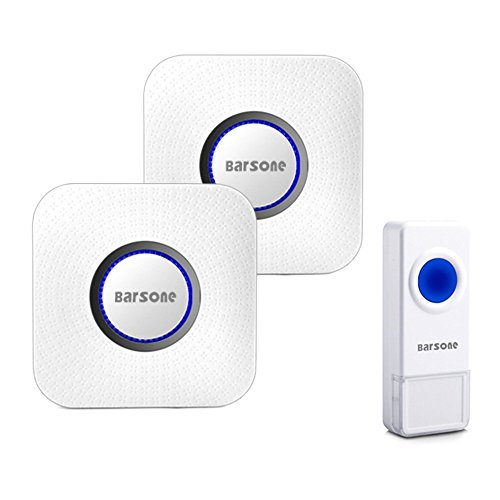 Wireless Doorbell Kits,Barsone Wireless Door Bell Chimes with 1 Push Button and 2 Remote Receivers Operating at Over 1000-Feet Range(4 Levels Volume,52 Chimes)No Batteries Required for Receiver