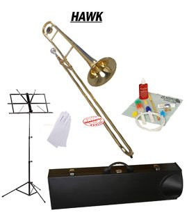 Hawk Gold Lacquer Slide Tenor Bb Trombone School Package with Case Music Stand and Cleaning Kit WD-TB315-PACK