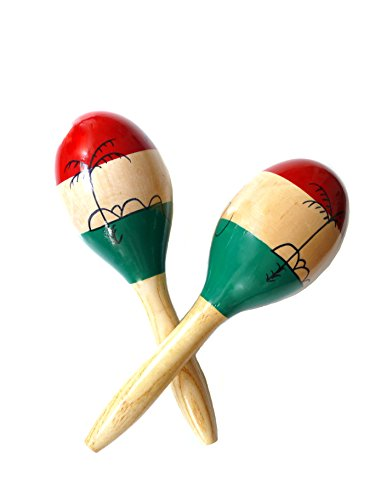 MARACAS & LARGE RUMBA SHAKERS Set of 2 – Latin Hand Percussion With Full, Bright Vibrant Sound Quality and a Great Musical Instrument Stimulating Salsa Rhythm Maker – Rattle Bringing Wonderful Party Fun