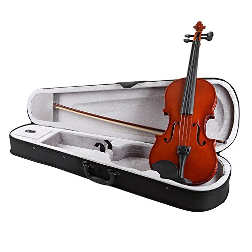 ELENKER 4/4 Full Size Natural Acoustic Violin Fiddle with Case Bow Rosin