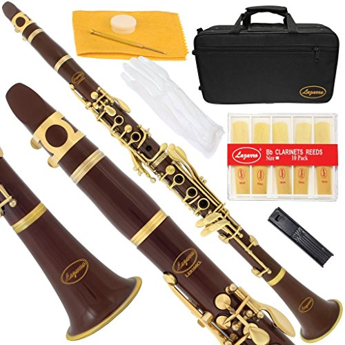 160-BR-L – BROWN/LACQUER Keys Bb B flat Clarinet Lazarro+11 Reeds,Case,Care Kit~24 COLORS Available,CLICK on LISTING to SEE All Colors