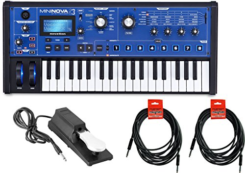 Novation Mini Nova analogue-modeling synthesizer w/ Sustain Pedal and 2 18.6′ Instrument Cables