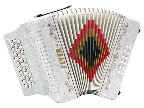 Fever F3112-WH Button Accordion 31 Keys 12 Bass on GCF Key, White