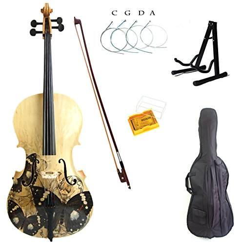 Kinglos 4/4 Colored Solid Wood Student Cello Kit with Soft Case, Stand, Bow, Rosin, Bridge and Extra set of strings Full Size (HSDT010)