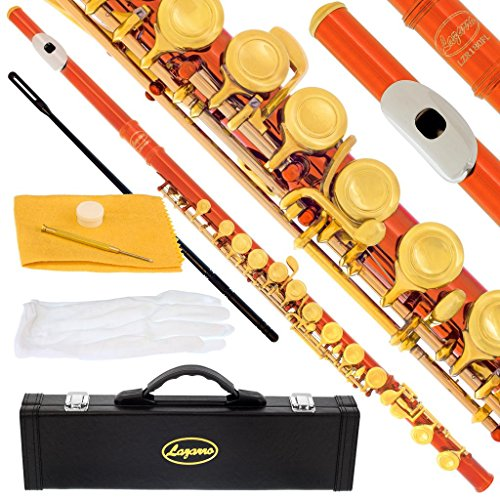 180-OR-N – ORANGE/LACQUER Keys Closed C Flute Lazarro+Pro Case,Care Kit – 22 COLORS Available ! CLICK on LISTING to SEE All Colors