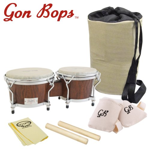 Gon Bops CA0785MS-KIT-1 California Series Bongo 7-Inch and 8.5-Inch with Claves, Knee Pads, Polish Cloth and Carrying Bag – Mahogany