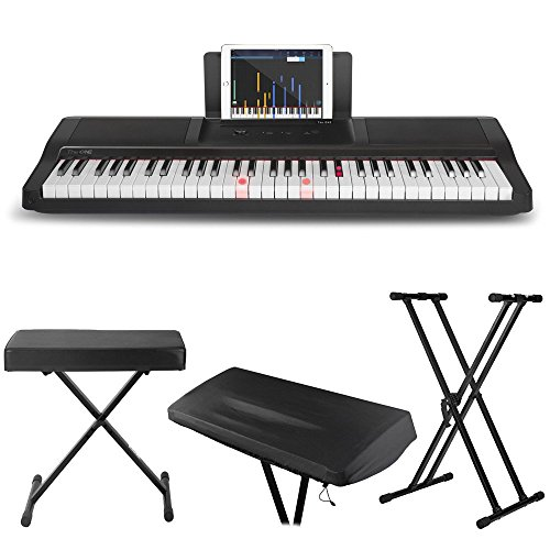 The ONE Light Keyboard (Black) + Double X Keyboard Stand + X Style Keyboard Bench + Keyboard Dust Cover