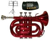 Merano B Flat Red Pocket Trumpet with Case+Metro Tuner+Black Music Stand