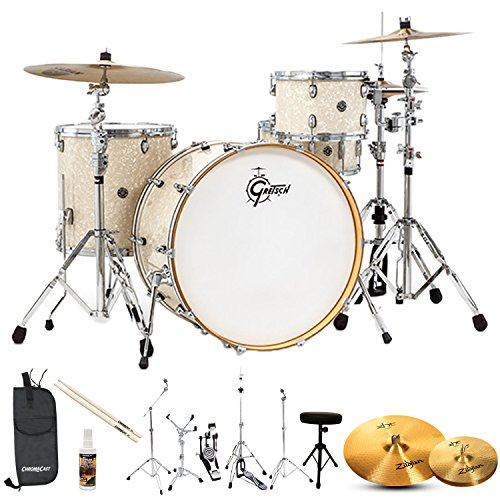 Gretsch Drums Rock Catalina Club(CC1-R444-VMP-KIT-5) 4 Piece Drum Shell Starter Pack with Hardware & Zildjian Cymbals, Vintage Marine Pearl