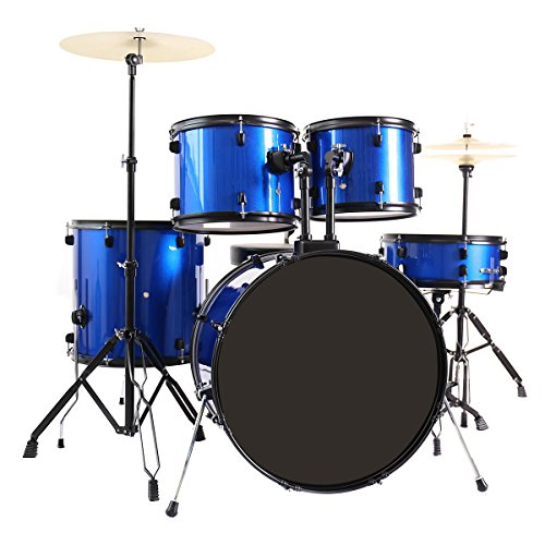 Costzon Full Size Complete Adult 5 Piece Drum Set with Cymbal+Throne (Blue)