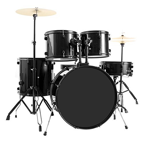 Costzon Full Size Complete Adult 5 Piece Drum Set with Cymbal+Throne (Black)