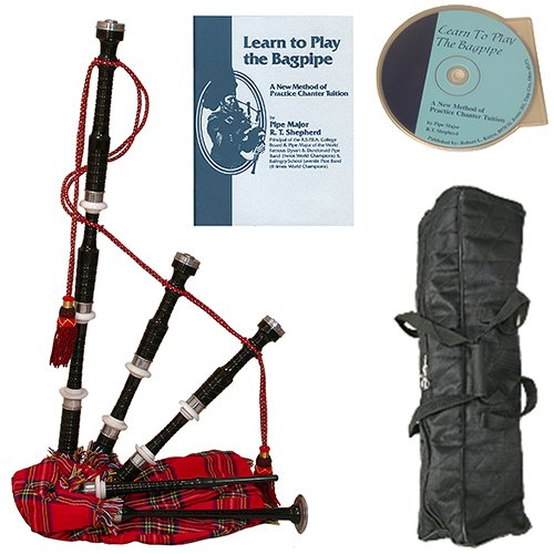 Roosebeck Full Size Sheesham Black Finish Bagpipe with Red Tartan Cover Deluxe Package w/Gig Bag, Book and CD