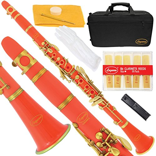Lazarro 160-OR-L B-Flat Bb Clarinet Orange Red, Gold Keys with Case, 11 Reeds, Care Kit and Many Extras