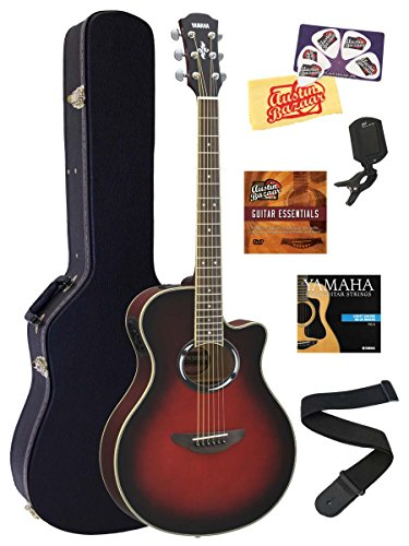Yamaha APX500III Thinline Cutaway Acoustic-Electric Guitar Bundle with Hard Case, Tuner, Instructional DVD, Strings, Pick Card, and Austin Bazaar Polishing Cloth – Dark Sun Red