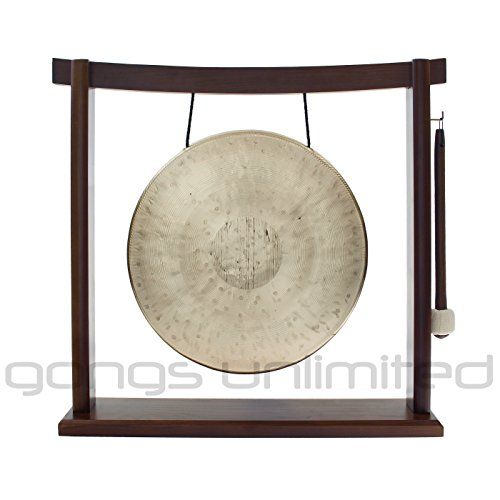Traditional 12″ (30 cm) Bronze Chinese Pasi Gong on Woodsonic Gong Stand – Perfect small size for Desktop and Tabletop, Home Decor, Feng Shui, Shrine, Meditation – High Quality Celebratory Sound, Bright Cheerful Tone – Handmade by China's Best Gongmakers in Wuhan (Combo includes Gong, Gong Stand and Mallet) – Gongs Unlimited