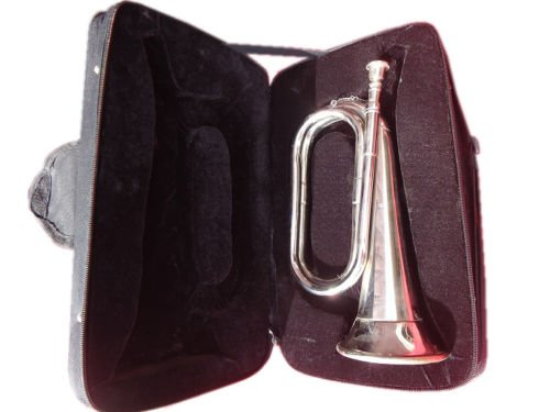 "TITLE- Bugle Brass with_CHROME""Trumpet_Bugle Instrument W/CASE nice manufacturer mades"