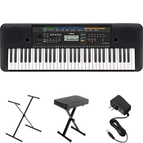 Yamaha PSRE253 61-Key Portable Keyboard with Stand, Bench, and Power Supply