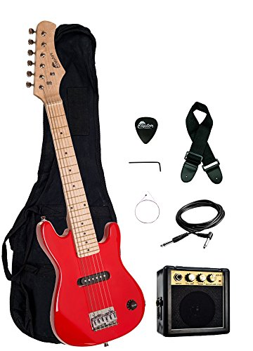 Raptor EP3-RD Kid'S Starter Electric Guitar Package, Red with Amp, Gig Bag, Strap, Cable and Pick