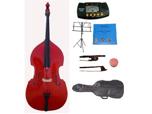 GRACE 3/4 Size Red Upright Double Bass with Bag,Bow,Bridge+2 Sets Strings+Rosin+Music Stand+Metro Tuner