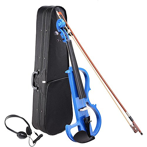 AW 4/4 Electric Violin Full Size Wood Silent Fiddle Musical Instrument Fittings Headphone Blue