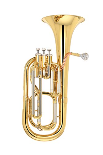 Kaizer Reliable Step Up Student Baritone Horn 2000 Series Standard B Flat Bb in Gold Lacquer Finish with Included Action Camera and Accessories BRH-2000LQ