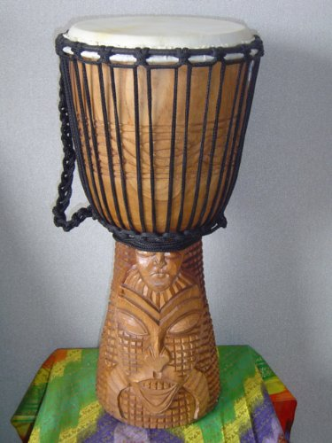 20″ X 10-11″ Deep Carved Djembe Bongo Drum TRIBAL MASK with Free Cover, Model # 50m1