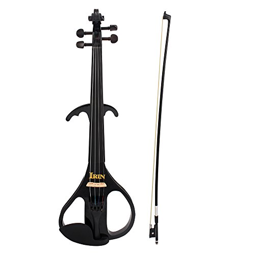 ammoon 4/4 Full Size Electric Violin Fiddle Maple Wood Stringed Instrument Ebony Fretboard Chin Rest with 1/4″ Connecting Cable Earphone Case for Student Music Lover Beginner