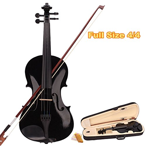 MCH Full Size 4/4 Student Acoustic Violin Starter Kits (Bow & Rosin & Carry Case) Stringed Instrument Violin Package for Kids Beginners (Black)