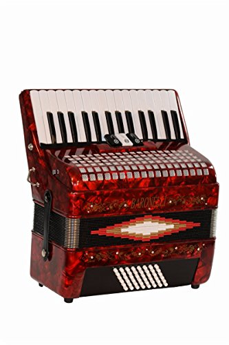 30 Keys 48 Bass Button Red Diatonic Piano Accordion Key of SOL G,C,F, with Hardshell Case, Padded Adjustable Leatherette Shoulder Straps & DirectlyCheap(TM) Translucen Blue Pick