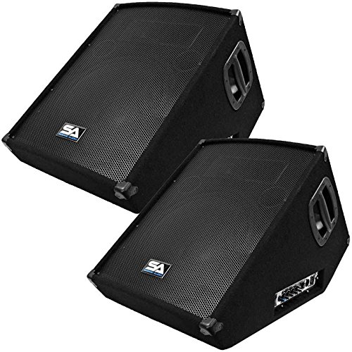 Seismic Audio – SA-15MT-PW-Pair – Pair of Powered 2-Way 15″ Floor / Stage Monitors Wedge Style with Titanium Horns