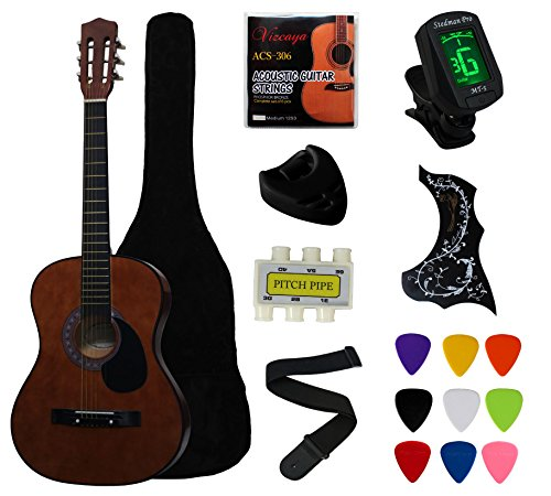 YMC 38″ Coffee Beginner Acoustic Guitar Starter Package Student Guitar with Gig Bag,Strap, 3 thickness 9 picks,2 Pickguards,Pick Holder, Extra Strings, Electronic Tuner -Coffee