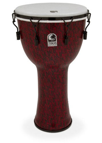 Toca TF2DM-14RMB Freestyle II Mechanically Tuned 14-Inch Djembe with Bag – Red Mask Finish