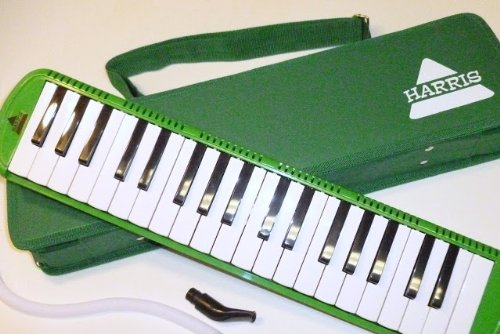 Deluxe Harris Musical Green Melodica with Matching Green Deluxe Case With Free AAA Musical Polishing Cloth