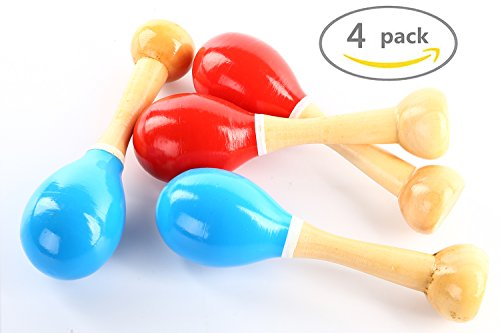 POPLAY Wood Maracas,Pack of 4,Red and Blue