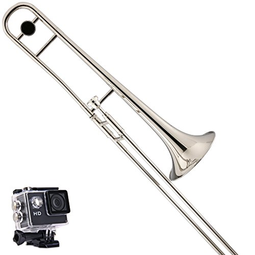 Kaizer Reliable Student Trombone 1000 Series Standard B Flat Bb in Silver Finish with Included Action Camera & Accessories TBNE-1000NK-CAM