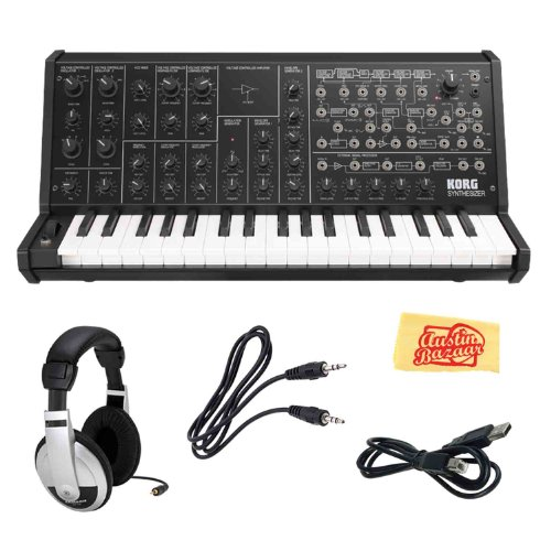 Korg MS20MINI Analog Monophonic Synthesizer Bundle with 3.5mm Aux Cable, USB Cable, Headphones, and Polishing Cloth