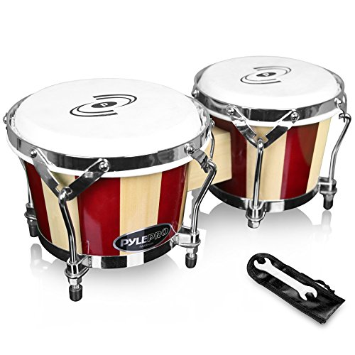 Pyle Tunable Bongos – Hand-Crafted Wooden Bongo Drums, 6.5 & 7.5 Inch, (PBND10)