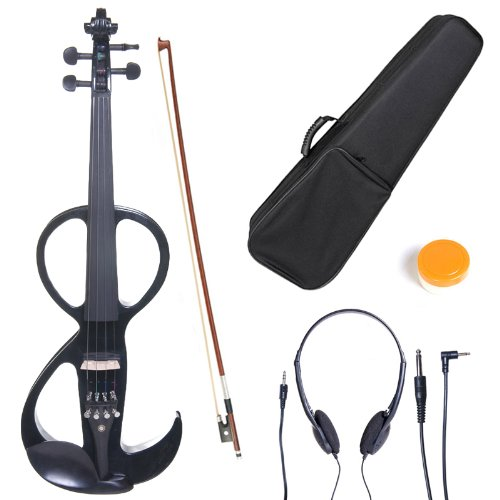 Cecilio 4/4 CEVN-3BK Solid Wood Electric/Silent Violin with Ebony Fittings in Style 3 – Full Size – Black Metallic
