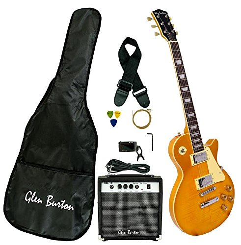 Full Size 39 Inch Gold Solid Body Cutaway Electric Guitar with Free Amplifier, Digital Tuner, Carrying Bag, Cable, Strap, Strings, & DirectlyCheap(TM) Translucent Blue Guitar Pick