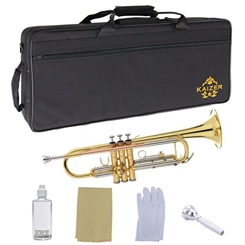 Kaizer Premium Student Trumpet 1000 Series Standard B Flat Bb in Gold Lacquer Finish with Rose Brass Leadpipe Essential Accessories Included 2017 Newest Model TRP-1000LQ