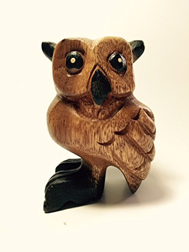 Blow Pipe Wooden Owl Musical Instrument 3 Inch Black Foot Owl