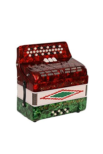 Full Size 34 Button Red White and Green Diatonic Accordion Key of SOL G,C,F, with Hardshell Case, Padded Adjustable Leatherette Shoulder Straps & DirectlyCheap(TM) Translucen Blue Pick