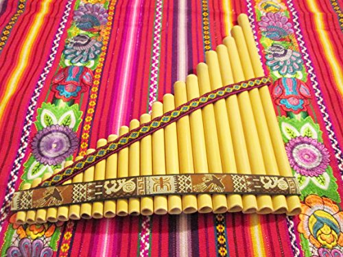 Pan Flute Antara 22 Pipes Nazca Designs – Natural Bamboo from Peru Case Included – Item in USA