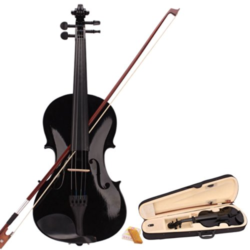 MCH 4/4 Full Size Acoustic Violin Outfit with Hard Case, Bow and Rosin, Fiddle Beginner Pack for Student (Black)