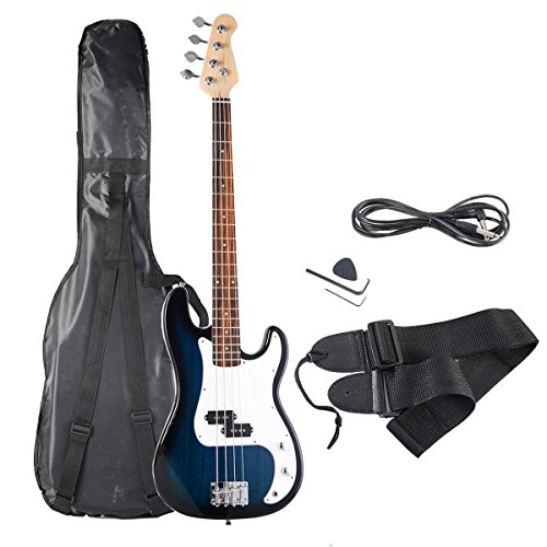 Goplus Electric Bass Guitar Full Size 4 String with Strap Guitar Bag Amp Cord (Blue)