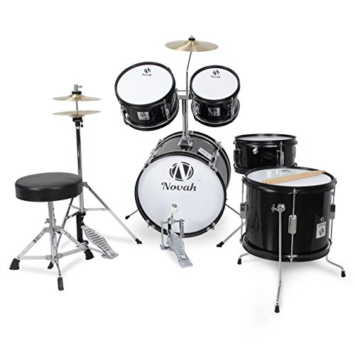 Novah 5-Piece Junior Drum Set Complete with Cymbals, Throne and Stool, Black