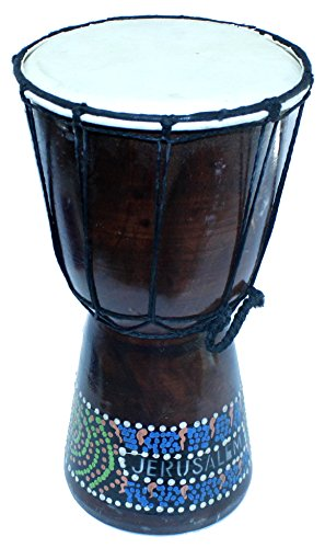 Djembe or Jembe Drum With With colored dots from Jerusalem – Large size ( 30 cm or 12 Inches high ) by Holy Land Market
