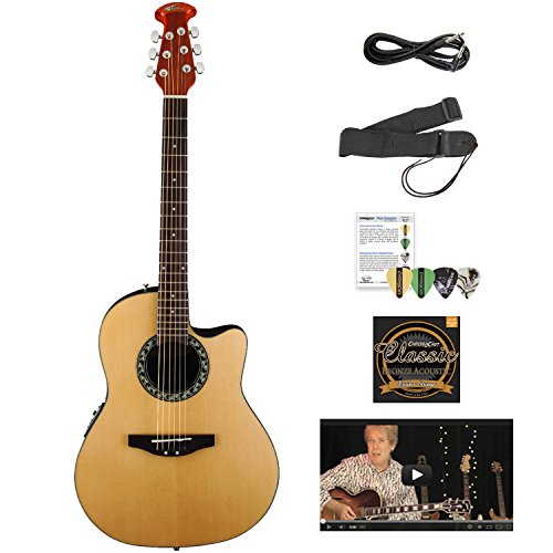 Ovation AB24-4-KIT-1 Applause Balladeer Acoustic-Electric Cutaway Guitar with Chromacast Accessories, Natural