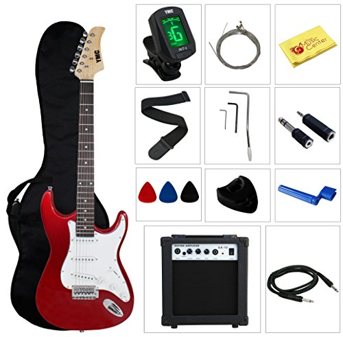Full Size Electric Guitar with Amp, Case and Accessories Pack Beginner Starter Package – Metallic Red